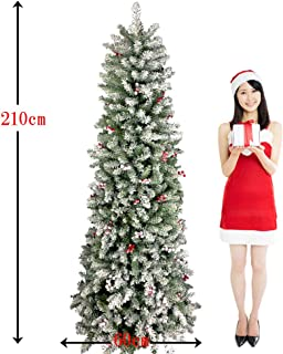 特別割引中! スリムタイプ 特別割引中!最高級クリスマスツリー210cm 雪化粧、赤い実付き、本物そっくりリアルなツリー 濃密な枝でボリューム抜群ホワイトクリスマスをイメージします。ドイツ、ベルギー輸出専用21-W