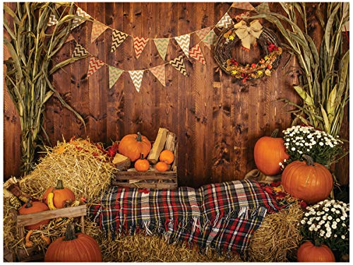 AIIKES 10X8FTFall Thanksgiving Photo Backdrop Rustic Wood Board Barn Harvest Photography Background Autumn Pumpkin Leaves Flower Baby Birthday Portrait Party Decoration Photo Studio Booth Props11-741