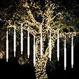Meteor Shower Raindrop Lights,SHONCO 50CM 10 Tubes 540 LED Meteor Lights Waterproof Snow Falling Icicle Lights Outdoor Cascading String Lights for Garden Party Wedding Christmas Tree Patio (White)