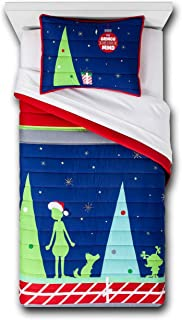 Seuss Dr The Grinch Kids Children Toddler Holiday Quilt Set (Twin/Full)