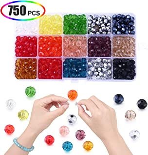 Crystal Beads for Jewelry Making 8mm, XINFANGXIU 750Pcs Clear Glass Rondelle Faceted Beads Wholesale for DIY Craft Bracelet Necklace Earring Jewelry Making