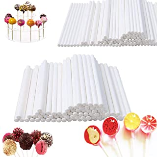 400 PCS 4 Inch White Lollipop Sticks,Cake Pops Making Tools,Paper Treat Stick Sucker Stick for Candy Melt,Dessert,Cake Pop...