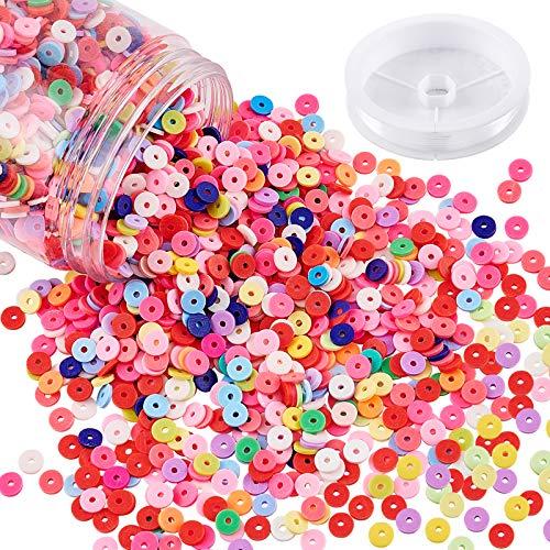 NBEADS Alrededor de 200 g de cuentas de arcilla polimérica hechas a mano, cuentas de arcilla redonda plana con hilo de cristal elástico transparente para hacer joyas.