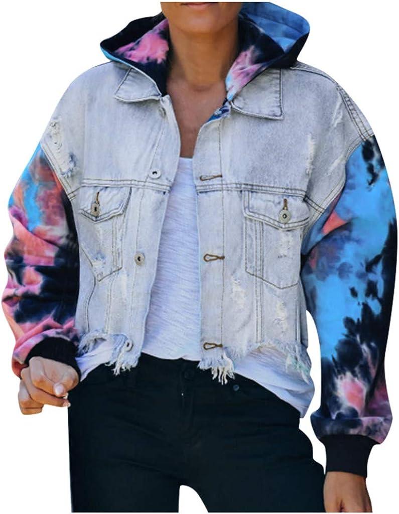 aihihe Denim Jacket for Women Plus Size Distressed Color Block Button Down Denim Jean Jackets Coats Outerwear
