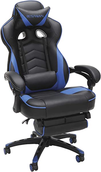 RESPAWN 110 Racing Style Gaming Chair Reclining Ergonomic Leather Chair With Footrest Office Or Gaming Chair RSP 110 BLU