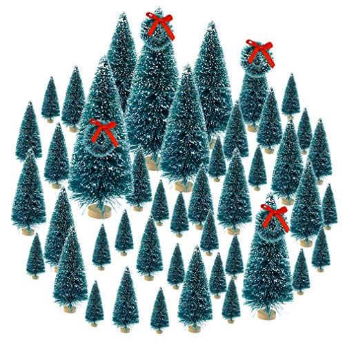 Topbuti 48 Pcs Bottle Brush Trees Mini Christmas Trees Artificial Xmas Trees Sisal Snow Frost Trees Diorama Tree with Wood Base for Christmas Craft Decoration Home DIY D