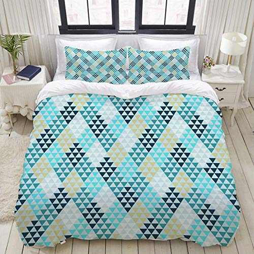 Nonun Duvet Cover Set, Seamless Geometric Pattern 2, Colorful Decorative 3 Piece Bedding Set with 2 Pillow Shams