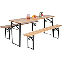 Deals on Costway 3 pcs Folding Wooden Picnic Table Bench Set