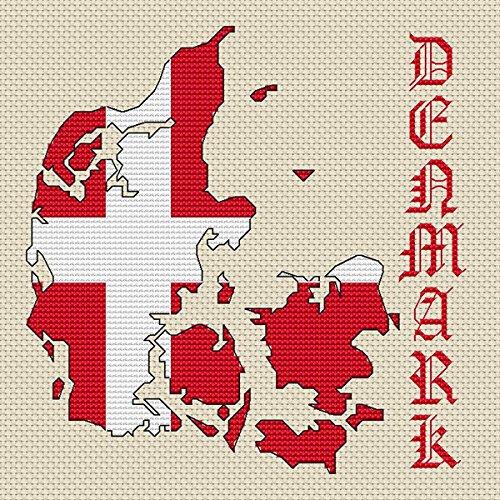 Denemarken Kaart & Vlag Cross Stitch Kit door Elite Designs