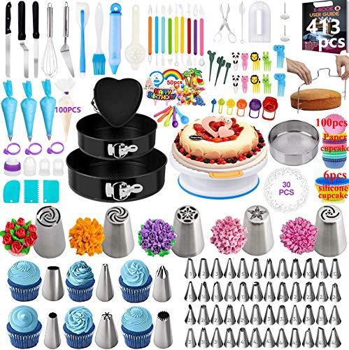 Nifogo Decoración de Pasteles, Molde para Pasteles, 413 Pcs Decoración Kit Incluir 1 PlatoTorta Giratoria 59 Boquilla de Acero Inoxidable, Utensilios para Modelar Pasteles para Principiante