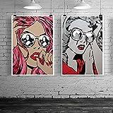 ZHJJD Vogue Pop Art Abstract Girl Canvas Art Print Pintura Póster Gris Botella de Perfume Cuadros de Pared para Salon de Estar Decoracion del hogar 50x70cmx2 Sin Marco