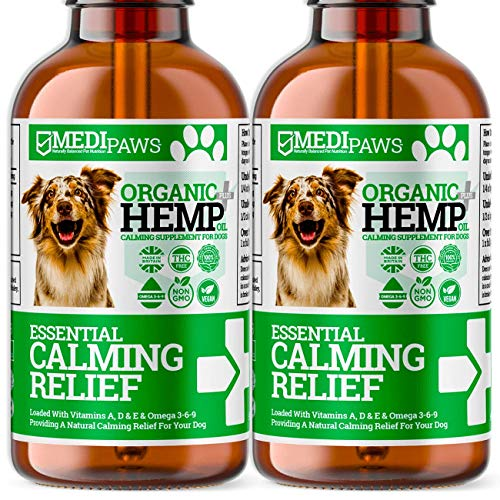 HELLO HEALTH DOG HEMP OIL | 2 x BUNDLE | Organic Calming Supplement For Dogs & Cats | Made In UK | Omega 3,6,9