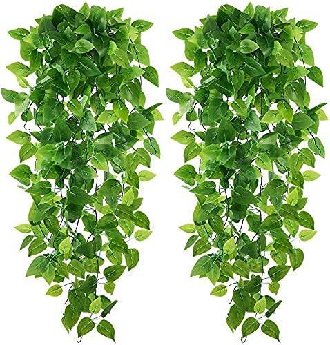 Carmer Guirnalda colgante artificial Ivy para colgar en la pared, para boda, jardín, decoración de pared, cestas colgantes, guirnaldas de boda (2 unidades)