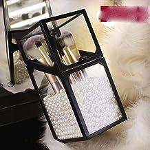 Czarny obramowanie akrylowy organizer do makijażu uchwyt na kosmetyki narzędzia do makijażu przechowywanie perły pudełko p...