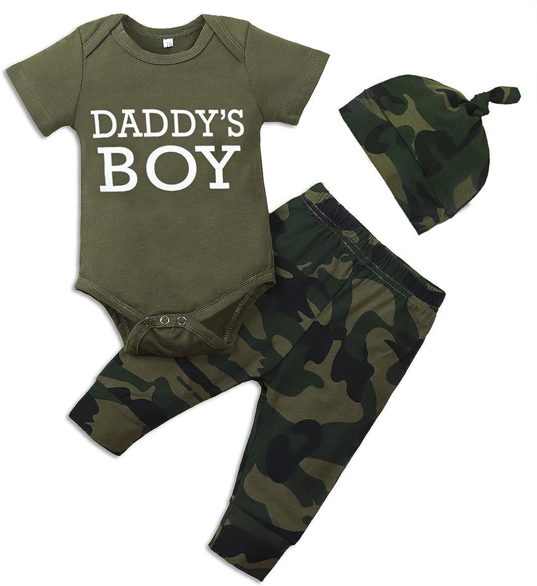 Newborn Baby Boy Clothes Letter Print Romper+Long Pants+Hat 3PCS Outfits Set