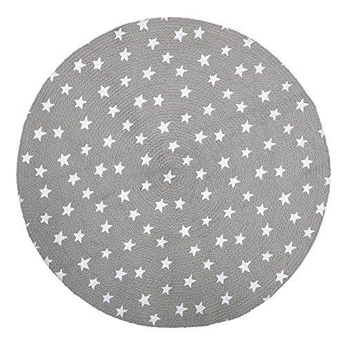 Bloomingville - Tapis Rond Gris à étoiles - Diam. 100cm