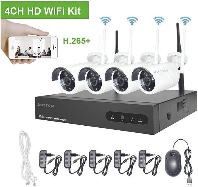 960P Kit Camaras Seguridad Vigilancia WiFi Aottom WiFi Kit Videovigilancia Sistemas de Seguridad Inalambrico (4CH 1080P NVR+4 IP Cámaras) Visión nocturna Detección De movimiento P2P IP66 sin HDD
