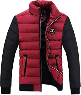 55c6f294b6245 Big and Tall Mens Winter Coats Clearance.Men's Winter Color Collision  Cotton Jacket Thickening Warm
