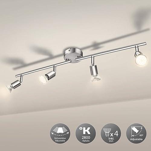 Luminaire Plafonnier 4 Spots LED Orientables, Wowatt 6W Spot de Plafonnier 600Lm GU10 Applique Lampe 2800K Blanc Chau...
