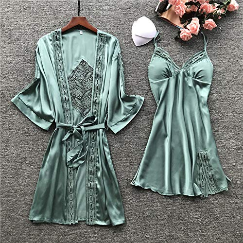 Damen Robe Set Lace Sleep Freizeithose Pijama Langarm Damen Pyjama Bademantel Nachthemd mit Brustpolster 1 M