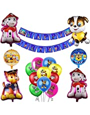 Paw Dog Patrol Birthday Party Supplies Set for Kids Paw Dog Patrol Theme Party Decorations, Include Paw Dog Patrol Banner, and Latex Balloons
