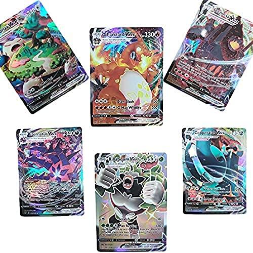 MRZJ - Lote de 100 cartas de Pokémon VMAX V GX, flash Trading Puzzle de cartas divertido, 2021 (100 VMAX60 V+40 VMAX)