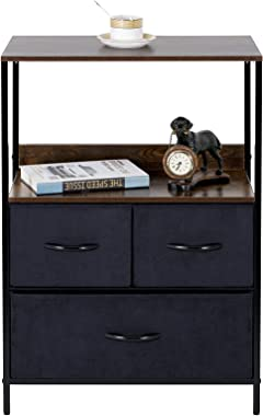 LYNCOHOME 3 Drawers Dresser- Fabric Storage Tower with Shelf, Organizer Units for Bedroom, Livingroom, Hallway, Entryway, Clo