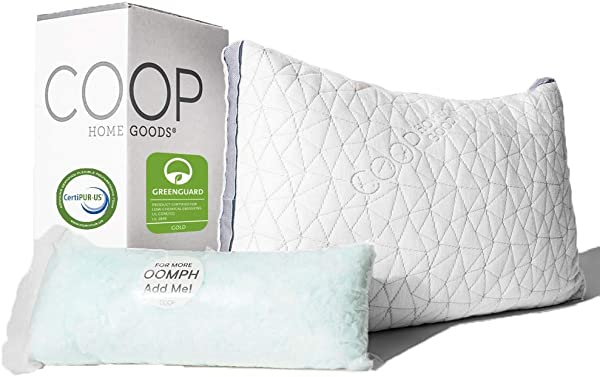 Coop Home Goods Eden Adjustable Pillow Hypoallergenic Shredded Memory Foam With Cooling Gel Lulltra Washable Cover From Bamboo Derived Rayon CertiPUR US GREENGUARD Gold Certified King