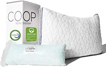 Coop Home Goods - THE EDEN PILLOW - Ultra Tech Cover with Gusset - ADJUSTABLE Fill features cooling and hypoallergenic gel infused memory foam with fiberfill - MADE IN USA - STANDARD