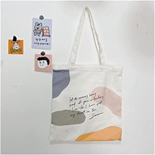 canvas bag Reusable Cloth Bag Women Canvas Tote Bag Shoulder Bag Fashion Shopping Handbag Large-capacity (Color : Color A)