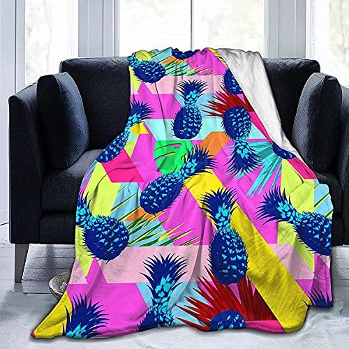 Manta, Cyan Pineapples Colorsmanta De Picnic De Franela Suave Y Cálida, Cómodas Y Ligeras, para Viajes / Exteriores / Rodillas / Cama / Sofá,150X125 Cm