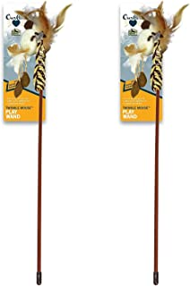 Our Pets 2 Pack of Twinkle Teaser Wand Cat Toys with Catnip, Feathers, LED Lights, and RealMouse Squeaking Sounds