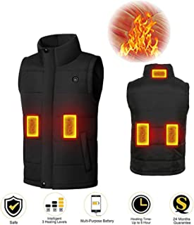 Bearhoho Electric Heated Vest Far Infrared Temperature Adjustable Heating Vest Washable Healthy Waistcoat Heated Jacket for Back Pain Relief Temperature Jackets for Hiking Camping(Without Power Bank)