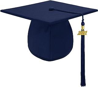 Unisex Adult Matte Graduation Cap Graduation Hat with Tassel Adjustable for High School and College - Dark Blue