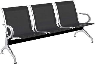 PrimeMatik - Bancada para sala de espera con sillas ergonómicas negras de 3 plazas