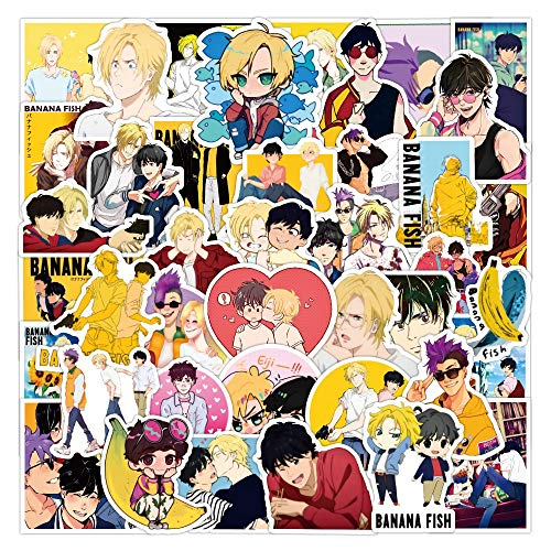 50pcs Anime BANANA FISH Stickers for Stationery Laptop Skateboard PVC Backpack Water Bottle Bicycle Waterproof Car Decal Sticker