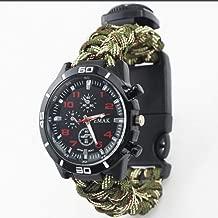 KJRJB 6 in 1 Survival Bracelet Watch, Men & Women Outdoor Emergency Military Sport Watch With Compass/Paracord/Whistle/Flint/Scraper, Multifunctional Survival Kit for Hiking, Boating, Adventure