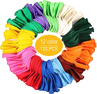 120 PCS Assorted Party Balloons, Latex Balloons for Birthday Party, Exquisite Birthday Balloons, 12 Inches & 12 Kinds of Color Balloons.