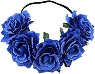 Tvoip Rose Floral Crown Garland Flower Headband Headpiece for Wedding Festival (Royal Blue)