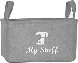 Morezi Canvas Pet Toy and Accessory Storage Bin, Basket Chest Organizer - Perfect for Organizing Pet Toys, Blankets, Leashes and Food