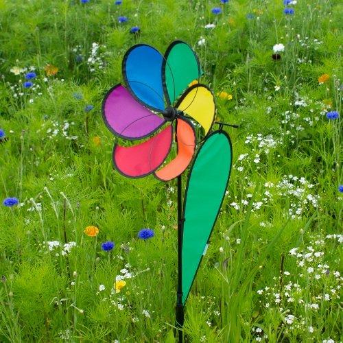 Girouette fleur de jardin, terrasse, balcon - très belle eolienne fleur colorée pour une décoration extérieure réussie - Dimension: 48 x 25 cm - Ø 27cm - Hauteur: 100cm