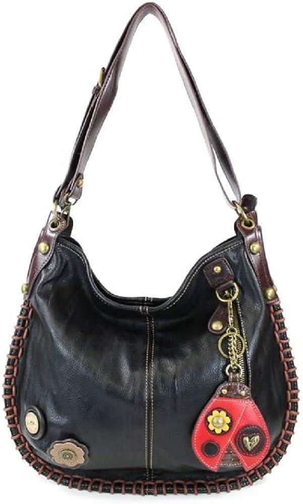 Chala CONVERTIBLE Hobo Large Tote Bag LADYBUG Vegan Leather BLACK