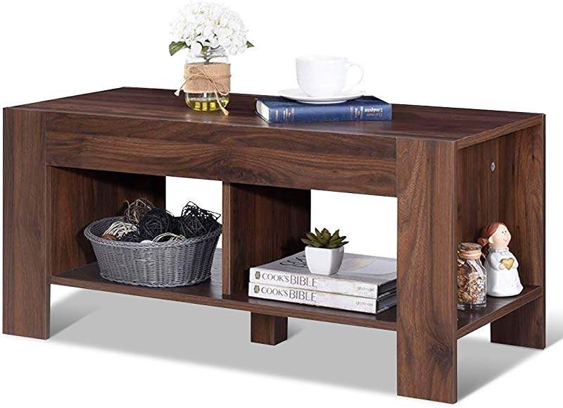 Tangkula Coffee Table Tea Table With Storage Shelf Sofa Table For Home Living Room Office Furniture 2 Tier Coffee Table Brown
