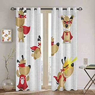 Homrkey Dog Shading Insulated Curtain Superhero Puppy with Paw Costume and Mystic Powers Laser Vision Supreme Talents for Bedroom Kindergarten Living Room W52 x L108 Inch Red Cream White