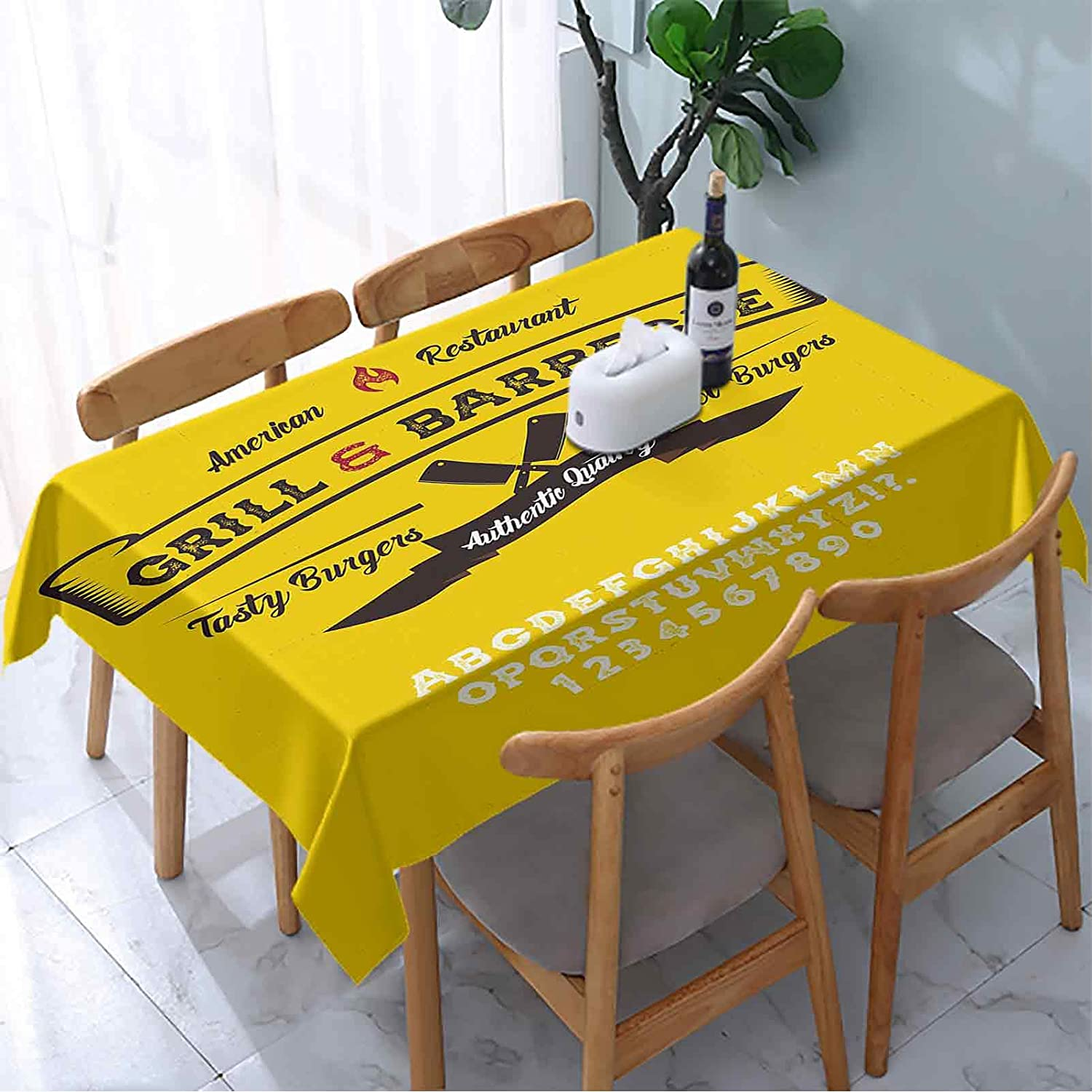 Textura Rectangle Table Cloth Popular brand Hand Font Custom Handw Quality inspection Grill Made