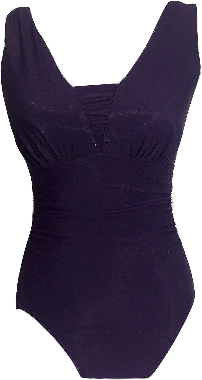 Miraclesuit One Piece Swim Suit Slimming Shaper Womens US 4 Purple 284476 D CUP