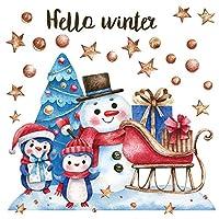 ウォールステッカー クリスマス Christmas Xmas 飾り 90×90cm Lsize シール式 装飾 オーナメント ツリー リース xmas Xmas DIY サンタ パーティー 017579 クリスマス ウォールステッカー 雪だるま かわいい ツリー