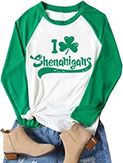 Women St. Patrick's Day Long Sleeve Raglan T-Shirt I Love Shenanigans Shamrock Graphic Splicing Tees Shirt Tops