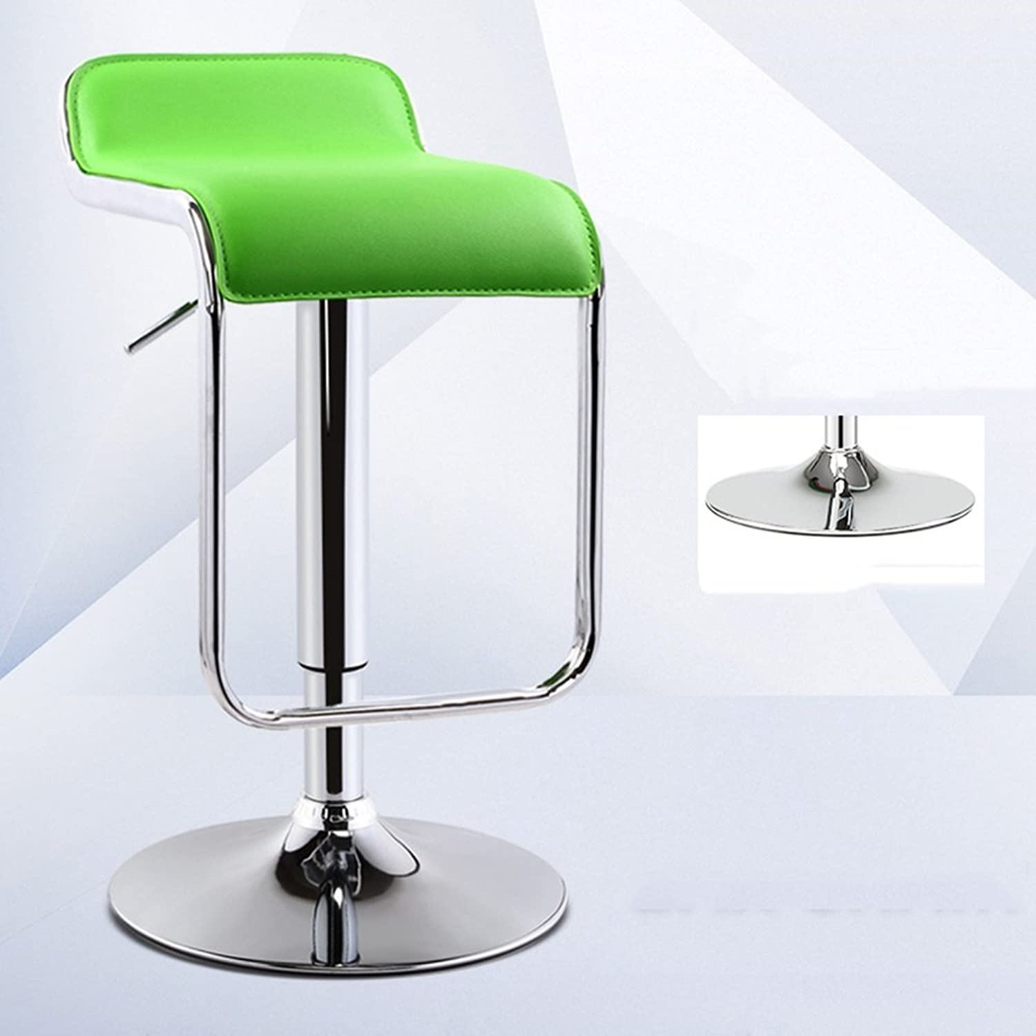 LHA Barstools 360 Degree Swivel Chair Lift Chair PU Chair Height Adjustable Bar Furniture (color   Green)