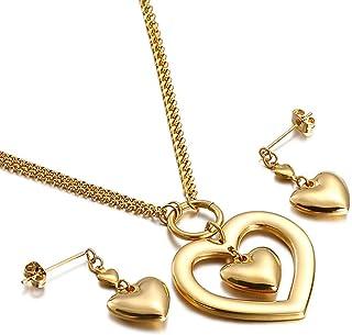 Or Argent Aruie Parure de Bijoux pour Femme en Acier Coeur Plaqu/é El/égant Collier Pendentif Boucles doreilles Ensemble Cadeau